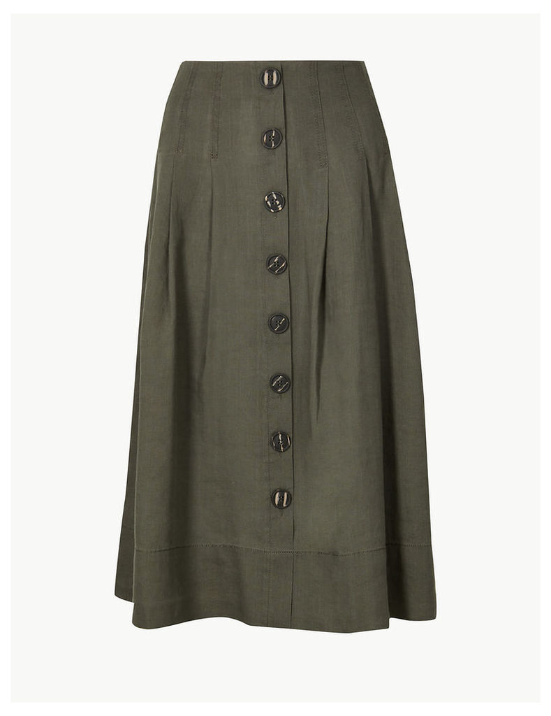M&S Collection Linen Rich Fit & Flare Midi Skirt