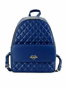 Quilted Metallic Logo Backpack