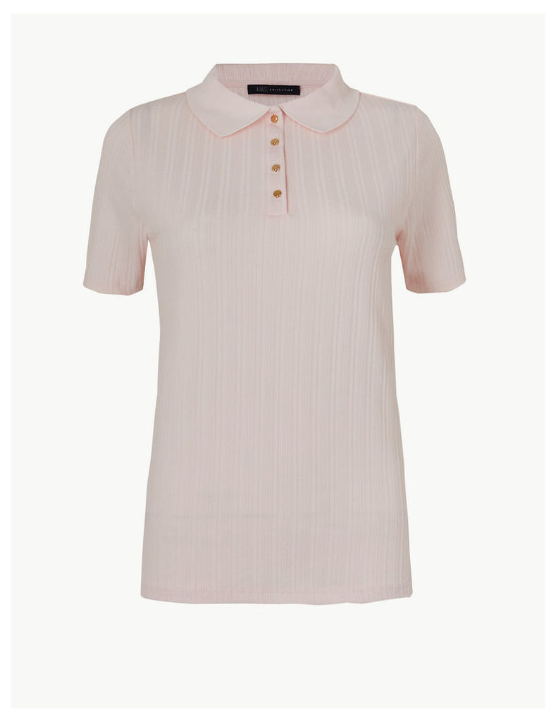 M&S Collection Textured Short Sleeve Polo Shirt