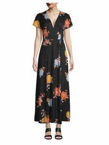 Floral-Print Maxi Wrap Dress