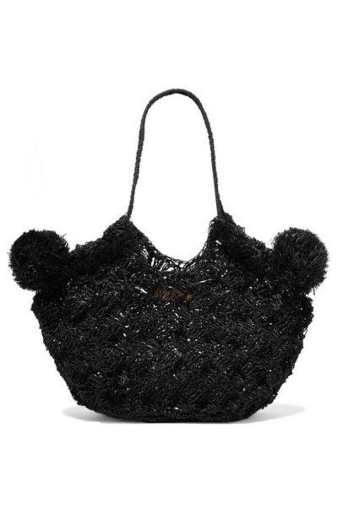Ulla Johnson - Lalo Mini Pompom-embellished Straw Tote - Black