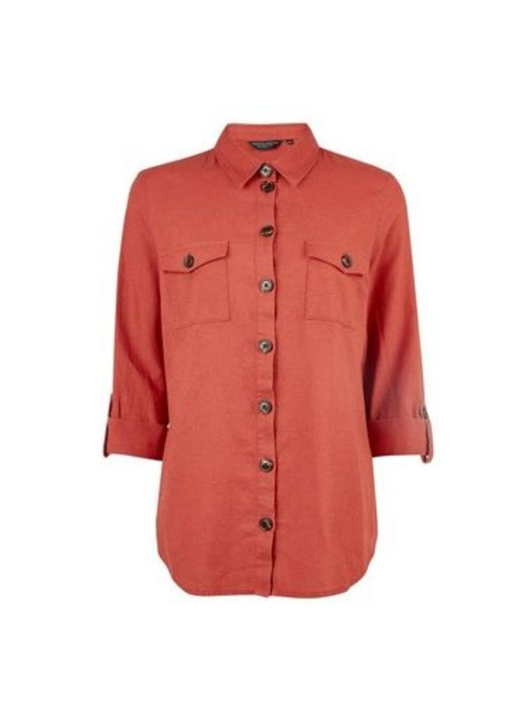 Womens Rust Shirt With Linen- Red, Red