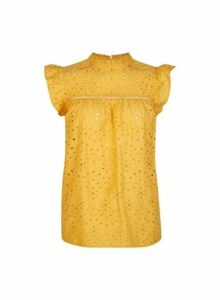 Womens Yellow Broderie Top- Orange, Orange