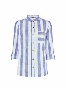 Womens Navy Striped Slub Shirt- Blue, Blue