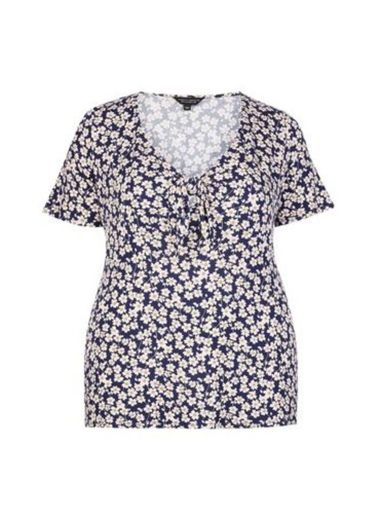 Womens **Dp Curve Navy Ditsy Print Tie Front Top- Blue, Blue