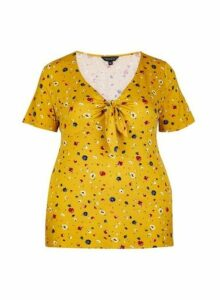 Womens **Dp Curve Yellow Ditsy Print Tie Front Top- Orange, Orange