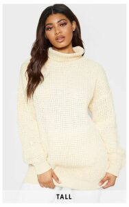 Tall Cream  Roll Neck Oversized Chunky Knit Jumper, White