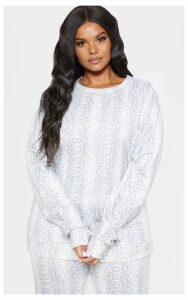 Plus Grey Snakeskin Sweater, Grey
