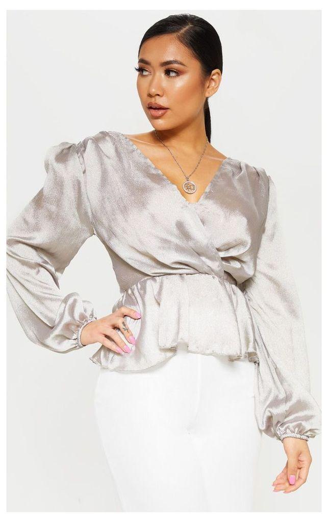 Petite Silver Deep V Wrap Front Long Sleeve Blouse, Grey