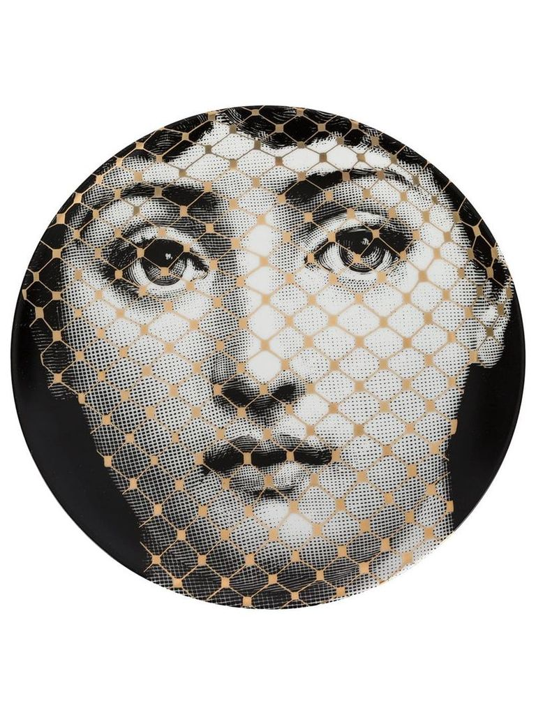 Fornasetti face T & V wall plate - Grey