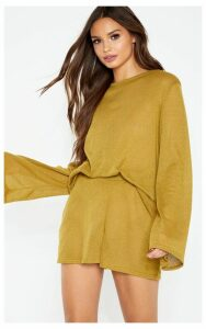 Olive Knitted Long Sleeve Lounge Set, Green