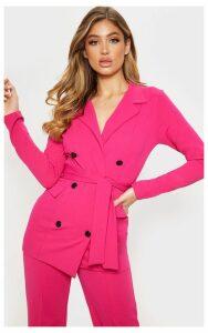 Pink Crepe Belted Longline Blazer, Pink