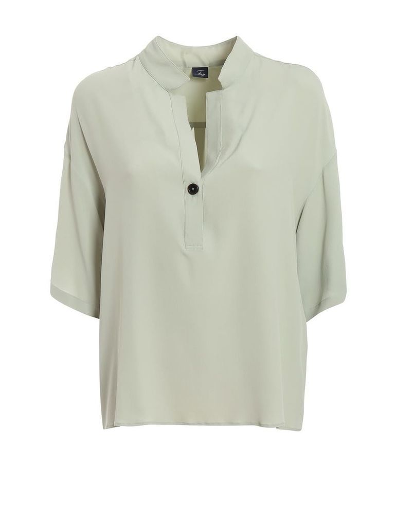 Fay Light Green Silk Blend Blouse