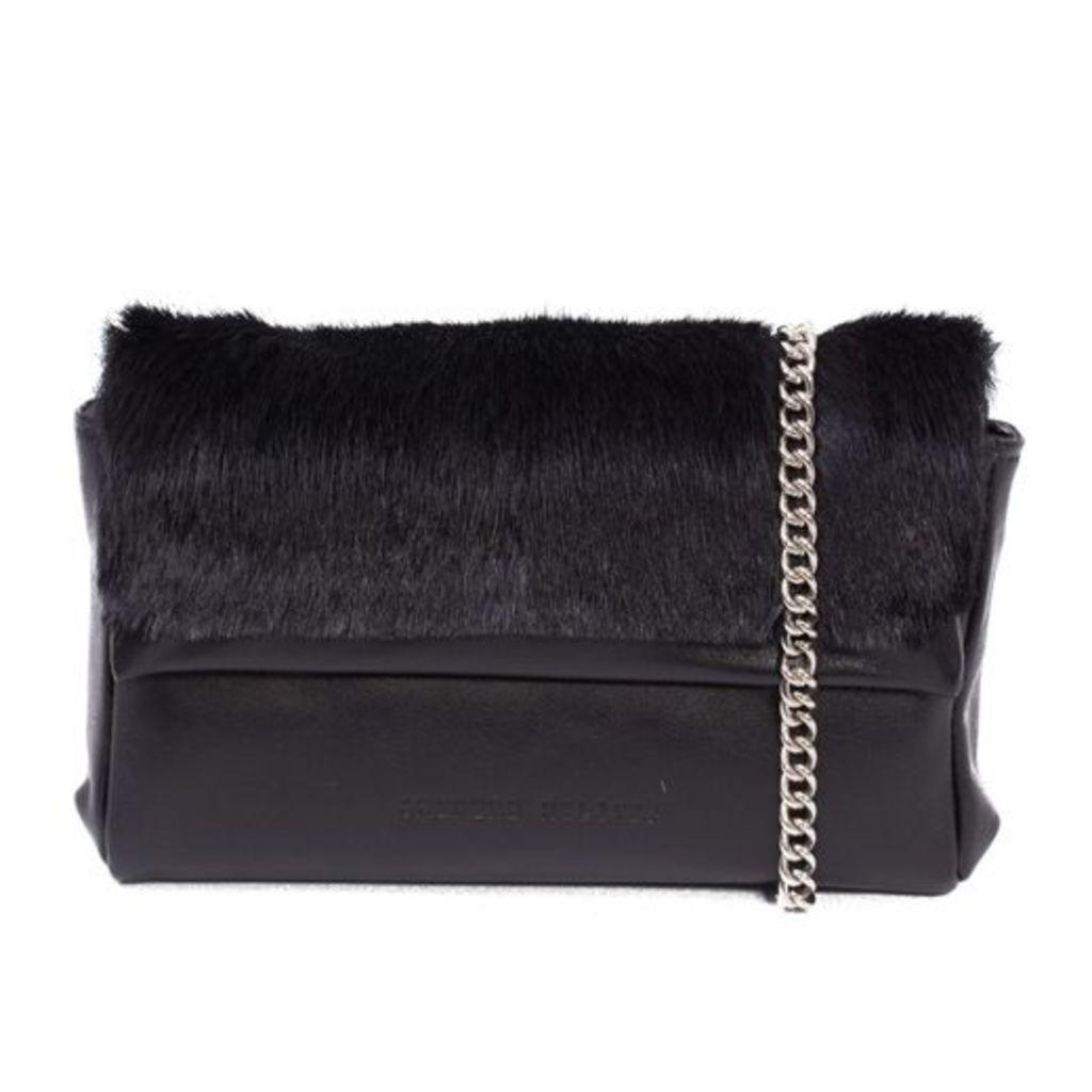 SHERENE MELINDA Black Sophy Springbok Leather Clutch Bag With A Stripe
