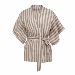 A-line Clothing - Brown Striped Kimono
