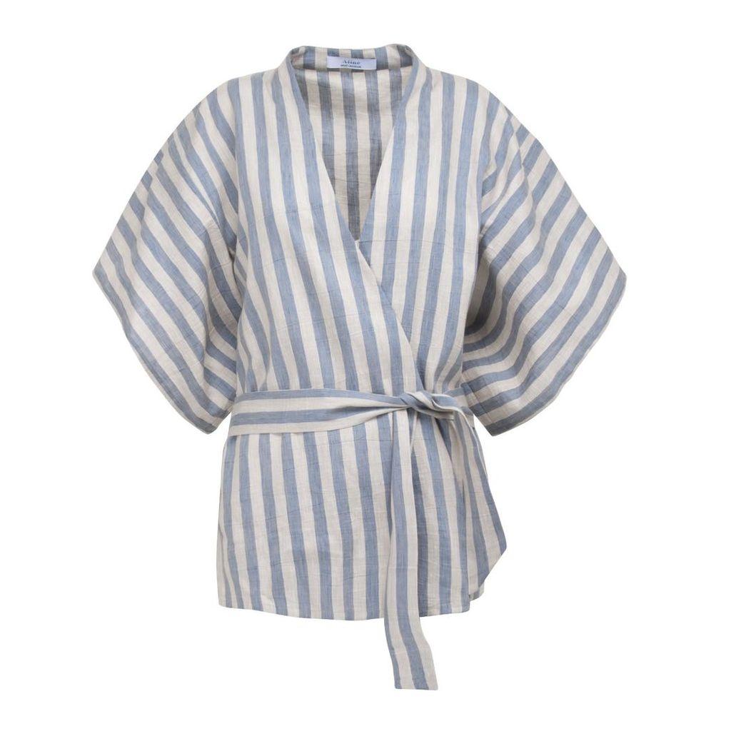A-line Clothing - Blue Striped Kimono