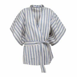 A-line Clothing - Blue Striped Kimono