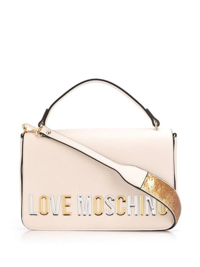 Love Moschino laminated logo shoulder bag - Neutrals