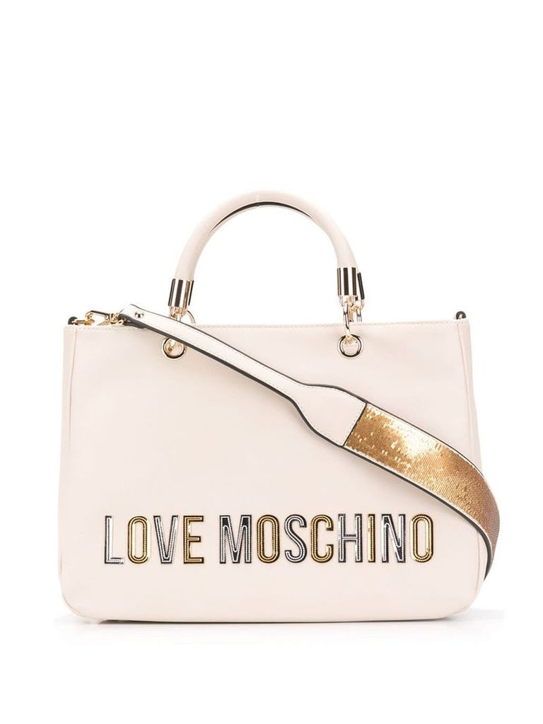 Love Moschino laminated logo tote - Neutrals