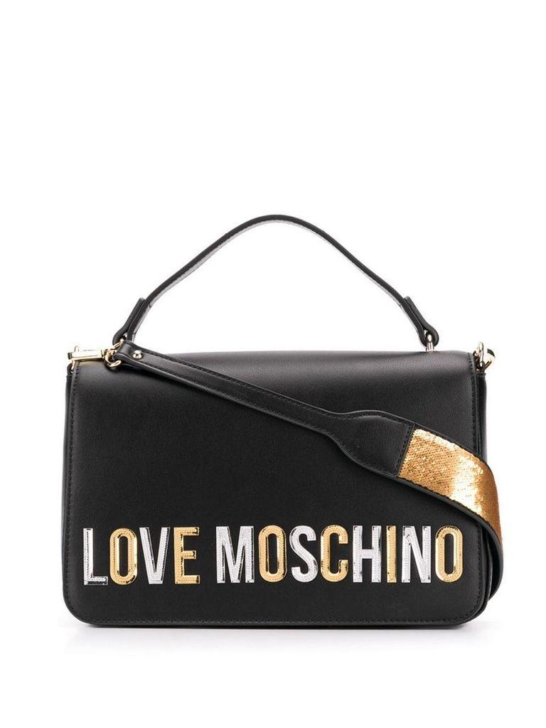 Love Moschino laminated logo shoulder bag - Black