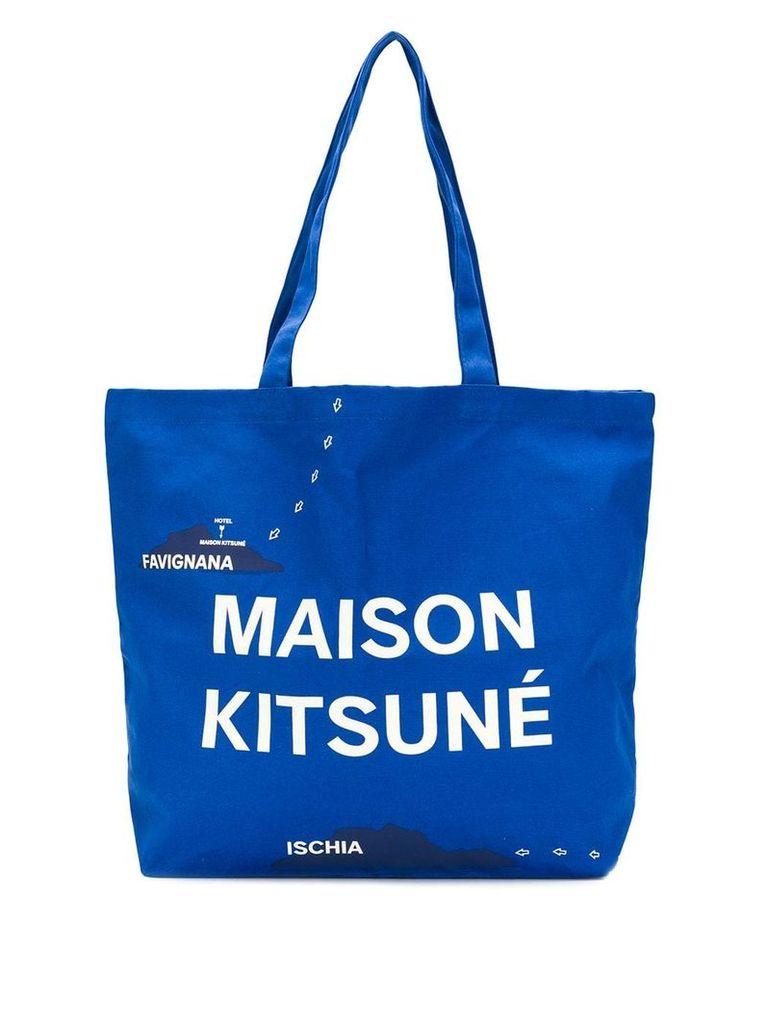Maison Kitsuné All Over Mappa tote - Blue