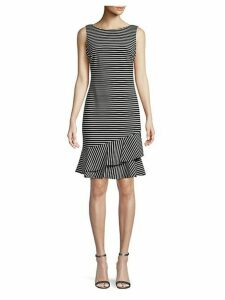 Striped Ruffle-Hem Sheath Dress