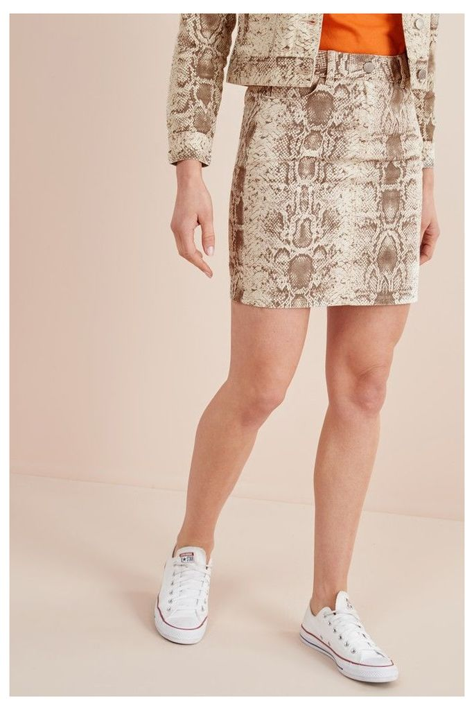 Womens Next Snake Print Denim Skirt -  Natural