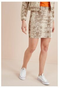 Womens Next Snake Print Co-ord Denim Skirt -  Natural