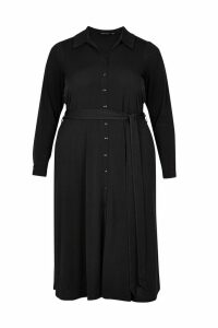 Womens Dorothy Perkins Curve Midi Shirt Dress -  Black