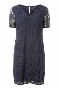 Womens Dorothy Perkins Lace Shift Dress -  Blue