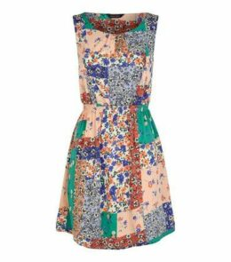 Multicoloured Floral Patchwork Mini Dress New Look