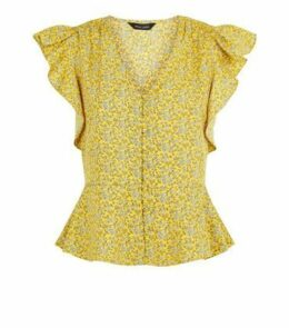 Mustard Floral Print Button Up Blouse New Look