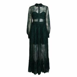 SELF PORTRAIT Floral Fine Lace Maxi Dress