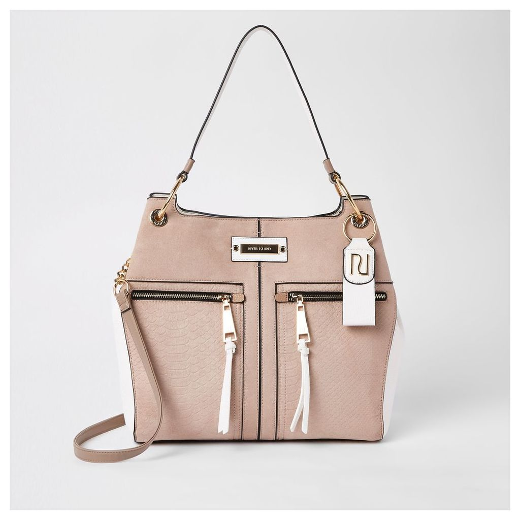Womens Beige zip front slouch bag