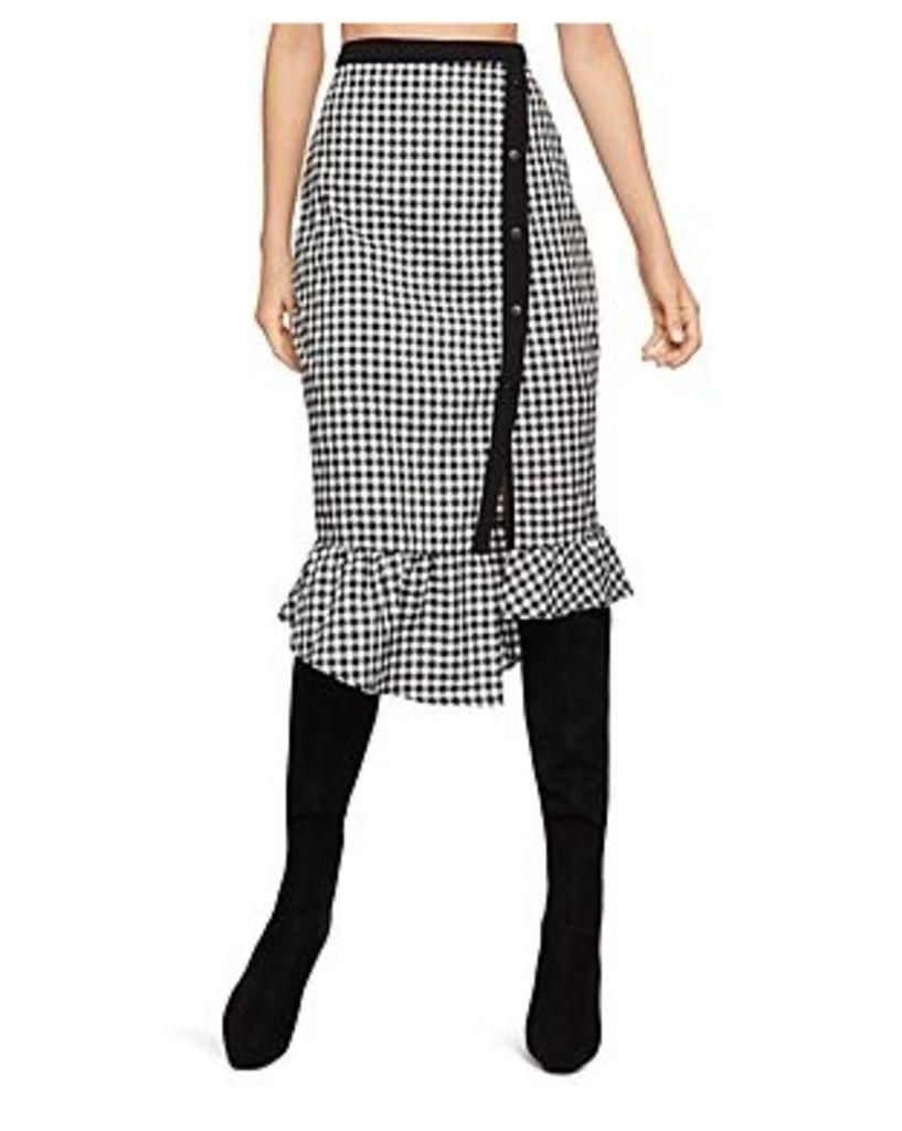 BCBGeneration Gingham Asymmetric Pencil Skirt