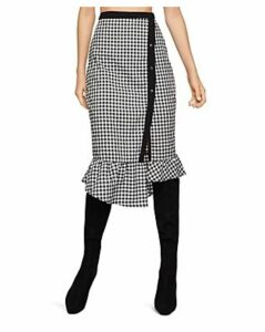 BCBGeneration Gingham Asymmetric Pencil Skirt