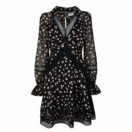 SELF PORTRAIT Twist Front Ditsy Mini Dress
