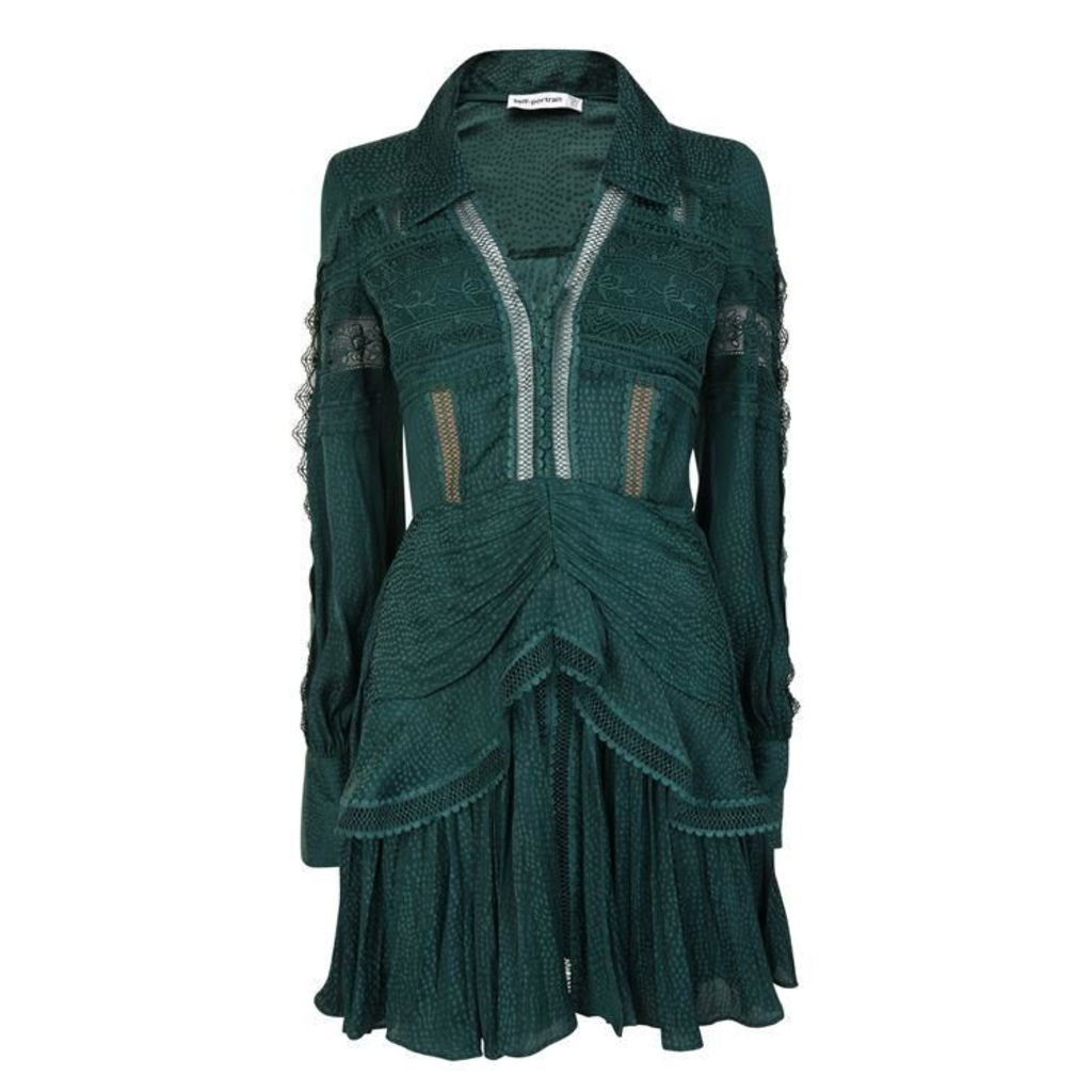 SELF PORTRAIT Jacquard Lace Trimmed Mini Dress
