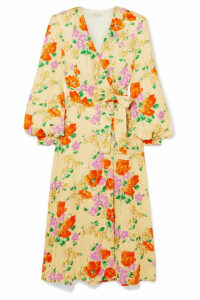 Dries Van Noten - Floral-jacquard Wrap Dress - Yellow