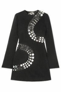 David Koma - Embellished Cutout Crepe And Mesh Mini Dress - Black