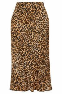Nanushka - Zarina Leopard-print Stretch Plissé-jersey Midi Skirt - Leopard print