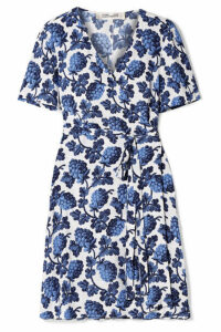 Diane von Furstenberg - Emilia Printed Crepe Wrap Dress - Blue