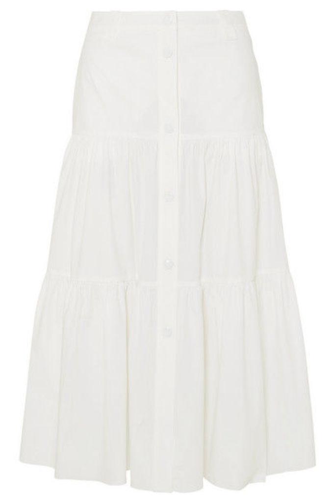 REDValentino - Gonna Tiered Cotton-blend Poplin Midi Skirt - White