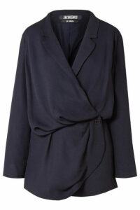 Jacquemus - Sisco Double-breasted Woven Mini Wrap Dress - Midnight blue