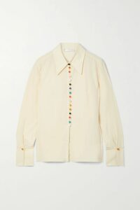 Haney - Claudia Embellished Silk-satin Halterneck Top - Saffron