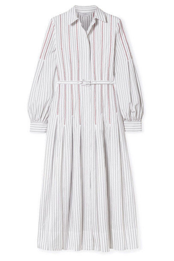 Gabriela Hearst - Chelsea Belted Embroidered Cotton-poplin Midi Dress - White