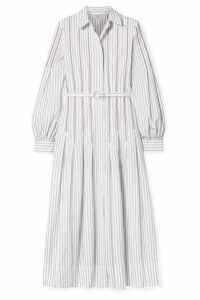 Gabriela Hearst - Chelsea Belted Embroidered Cotton-poplin Midi Dress - White