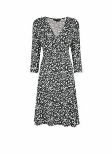Womens Black Mono Print Wrap Dress- Black, Black
