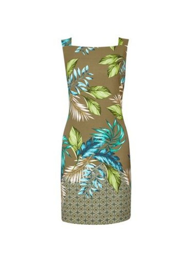 Womens Khaki Leaf Print Boarder Shift Dress- Khaki, Khaki