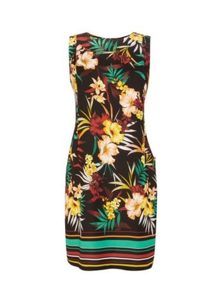 Womens Multi Colour Tropical Print Shift Dress- Black, Black